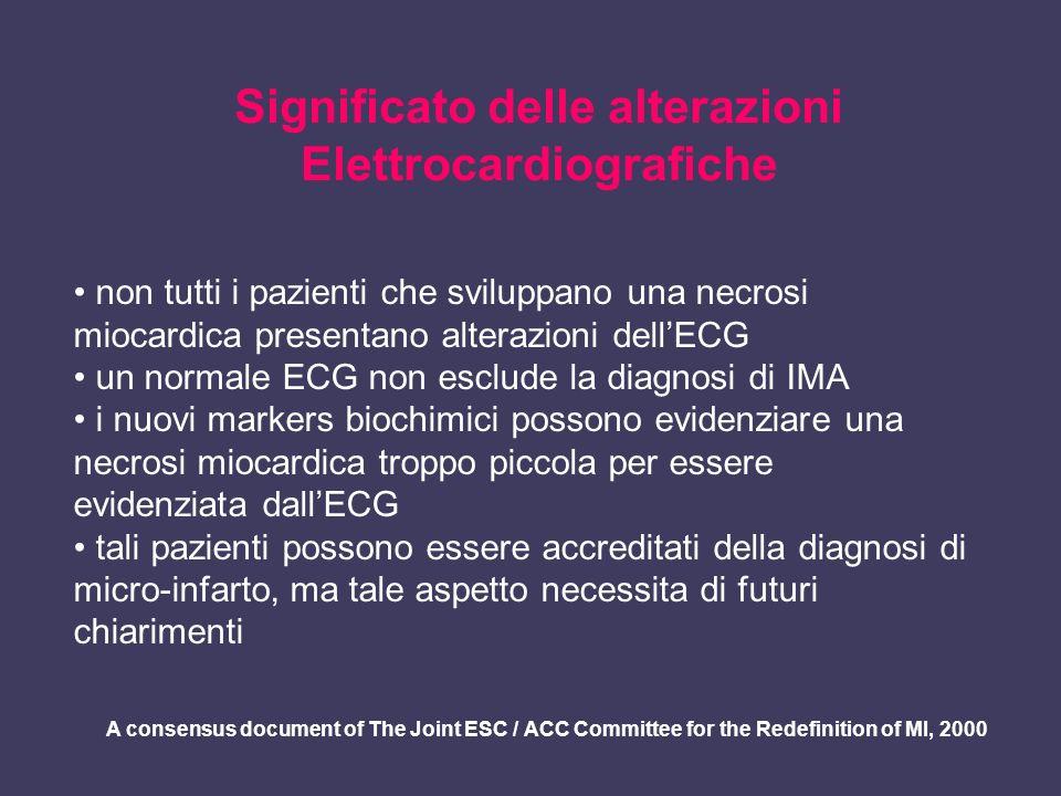 Significato delle alterazioni Elettrocardiografiche non tutti i pazienti che sviluppano una necrosi miocardica presentano alterazioni dellECG un norma