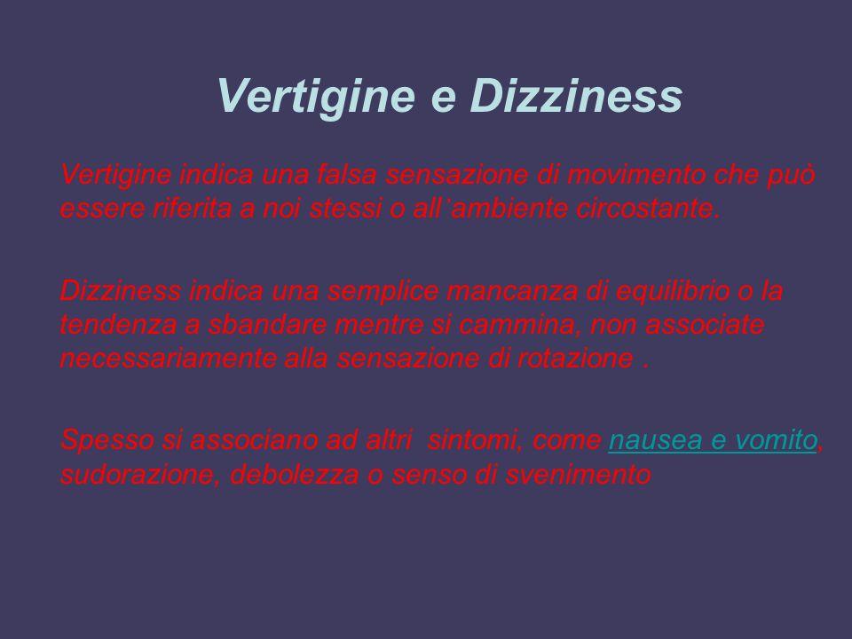 Vertigine e Dizziness Vertigine indica una falsa sensazione di movimento che può essere riferita a noi stessi o all ambiente circostante. Dizziness in