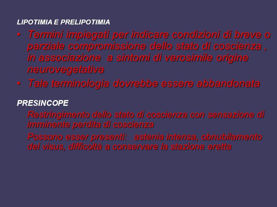 LIPOTIMIA E PRELIPOTIMIA Termini impiegati per indicare condizioni di breve o parziale compromissione dello stato di coscienza, in associazione a sint
