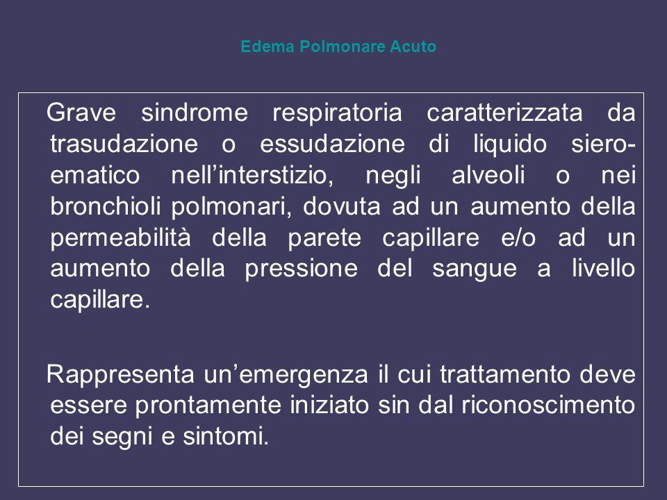 Grave sindrome respiratoria caratterizzata da trasudazione o essudazione di liquido siero- ematico nellinterstizio, negli alveoli o nei bronchioli pol