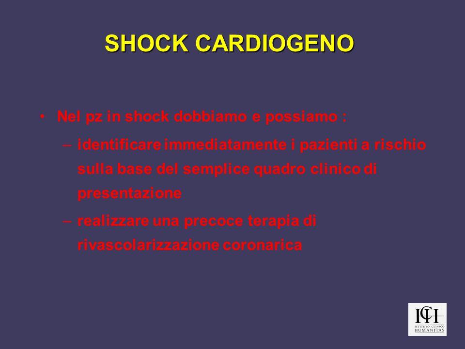 SHOCK CARDIOGENO Nel pz in shock dobbiamo e possiamo : –identificare immediatamente i pazienti a rischio sulla base del semplice quadro clinico di pre