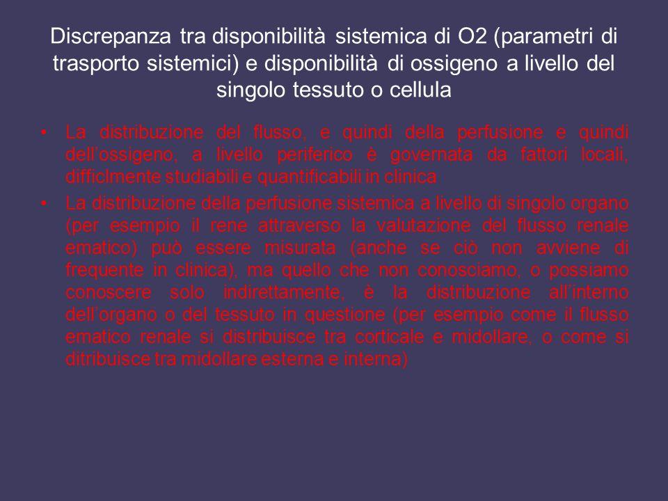 Discrepanza tra disponibilità sistemica di O2 (parametri di trasporto sistemici) e disponibilità di ossigeno a livello del singolo tessuto o cellula L