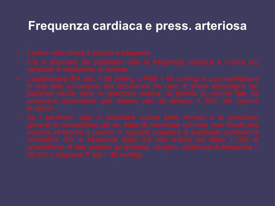 Frequenza cardiaca e press. arteriosa Il polso nello shock è piccolo e frequente Fra le anomalie dei parametri vitali la frequenza cardiaca è lindice