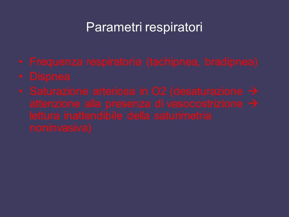 Parametri respiratori Frequenza respiratoria (tachipnea, bradipnea) Dispnea Saturazione arteriosa in O2 (desaturazione attenzione alla presenza di vas