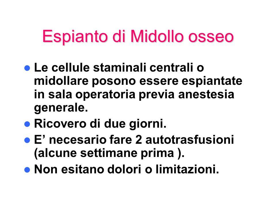 Espianto di Midollo osseo Le cellule staminali centrali o midollare posono essere espiantate in sala operatoria previa anestesia generale. Ricovero di