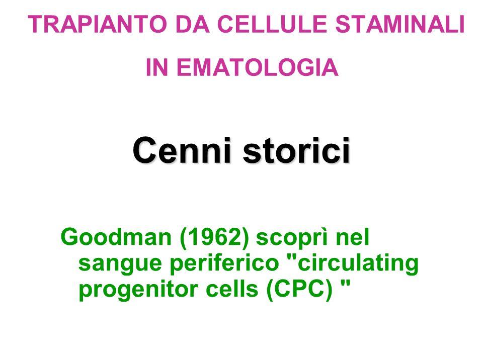 Cenni storici TRAPIANTO DA CELLULE STAMINALI IN EMATOLOGIA Cenni storici Goodman (1962) scoprì nel sangue periferico