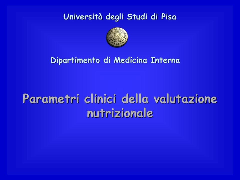 Parametri clinici della valutazione nutrizionale Università degli Studi di Pisa Dipartimento di Medicina Interna