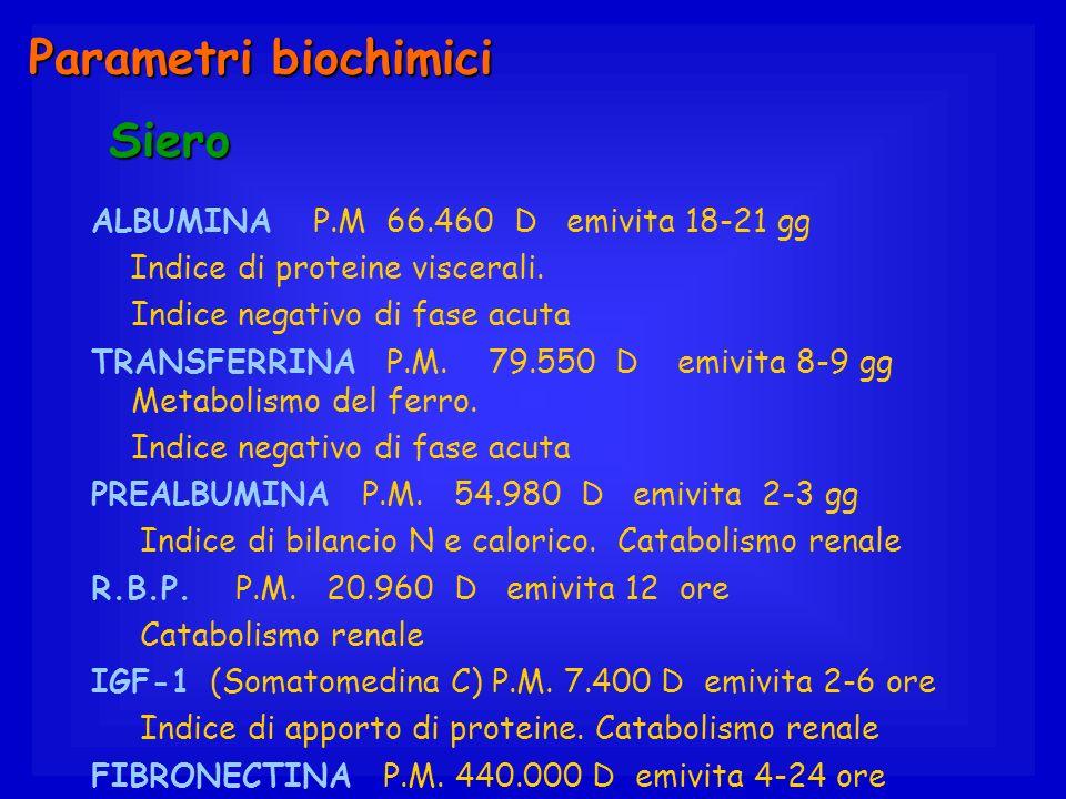 ALBUMINA P.M 66.460 D emivita 18-21 gg Indice di proteine viscerali. Indice negativo di fase acuta TRANSFERRINA P.M. 79.550 D emivita 8-9 gg Metabolis
