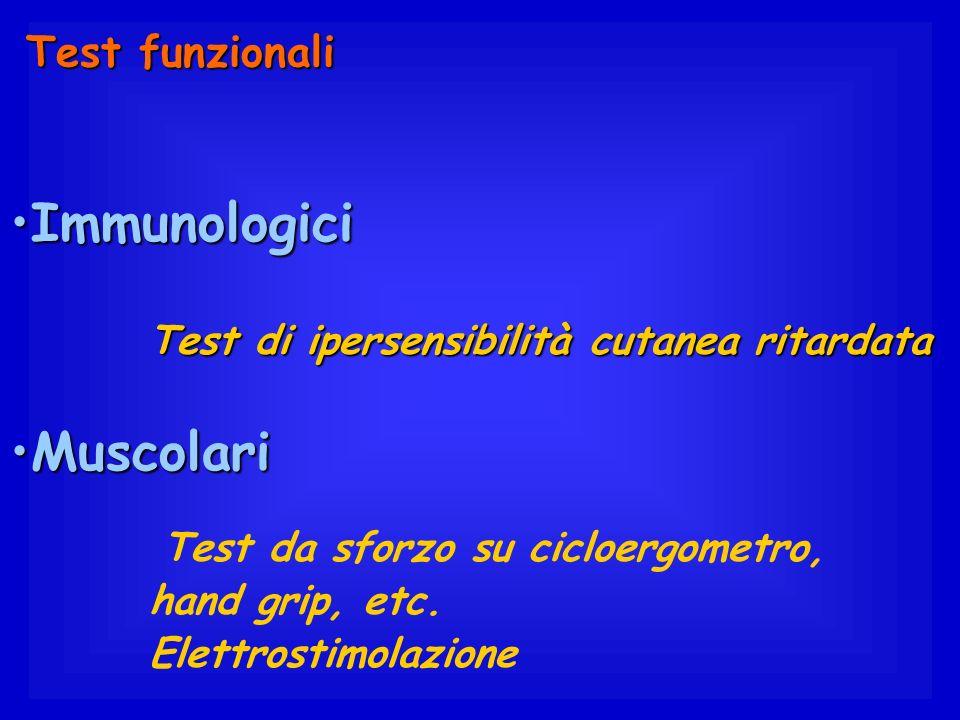 ImmunologiciImmunologici Test di ipersensibilità cutanea ritardata Test di ipersensibilità cutanea ritardata MuscolariMuscolari Test da sforzo su cicl