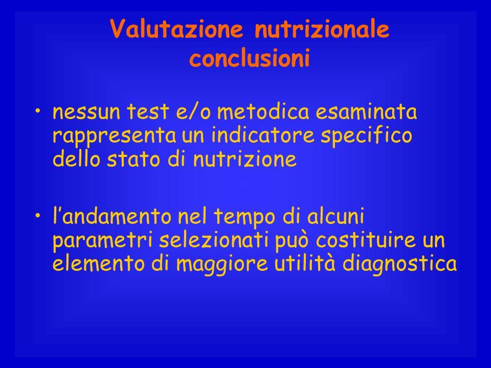 Valutazione nutrizionale conclusioni nessun test e/o metodica esaminata rappresenta un indicatore specifico dello stato di nutrizione landamento nel t