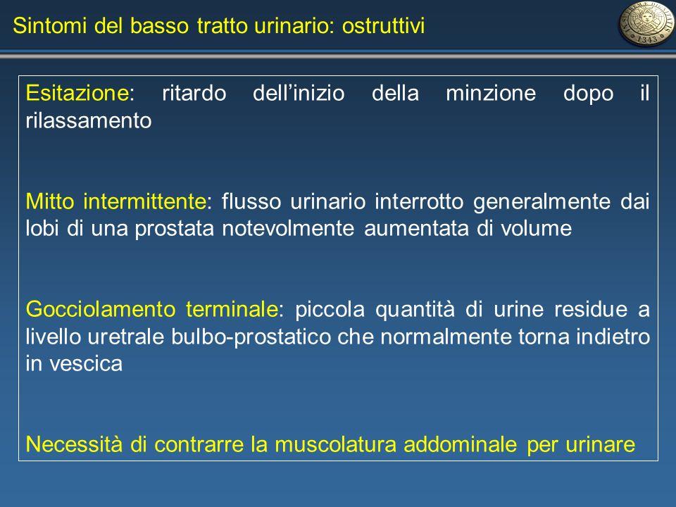 Sintomi del basso tratto urinario: ostruttivi Esitazione: ritardo dellinizio della minzione dopo il rilassamento Mitto intermittente: flusso urinario