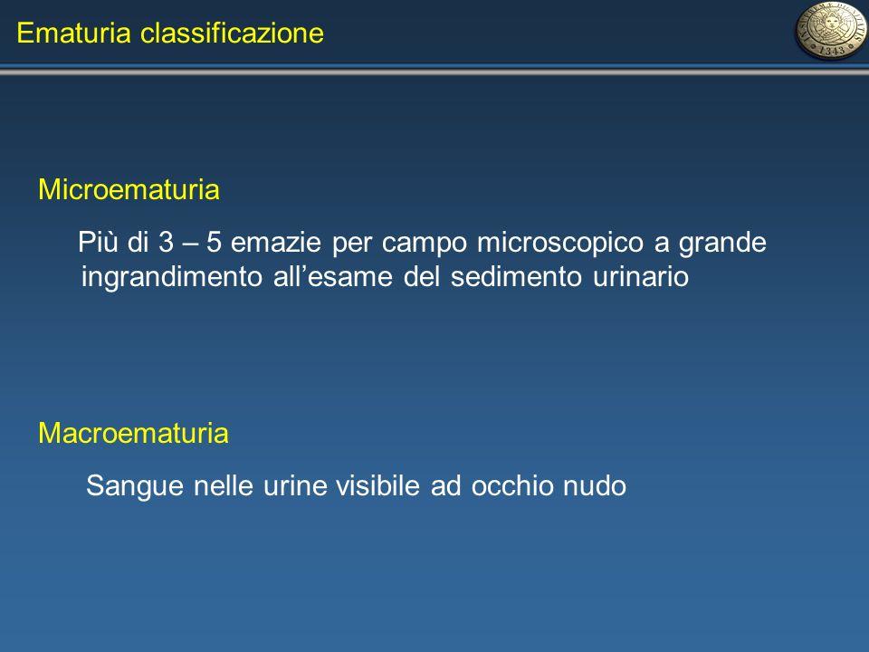 Ematuria classificazione Microematuria Più di 3 – 5 emazie per campo microscopico a grande ingrandimento allesame del sedimento urinario Macroematuria