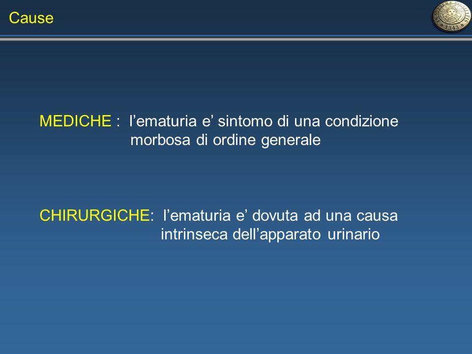 MEDICHE : lematuria e sintomo di una condizione morbosa di ordine generale CHIRURGICHE: lematuria e dovuta ad una causa intrinseca dellapparato urinar