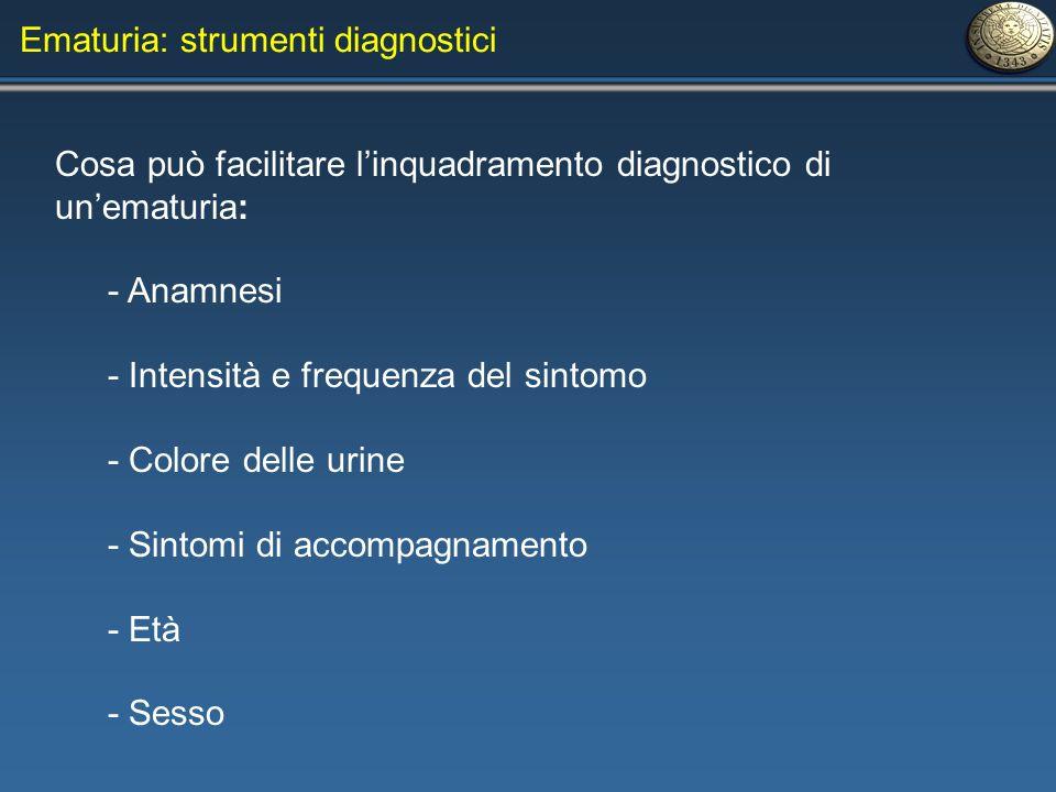 Cosa può facilitare linquadramento diagnostico di unematuria: - Anamnesi - Intensità e frequenza del sintomo - Colore delle urine - Sintomi di accompa