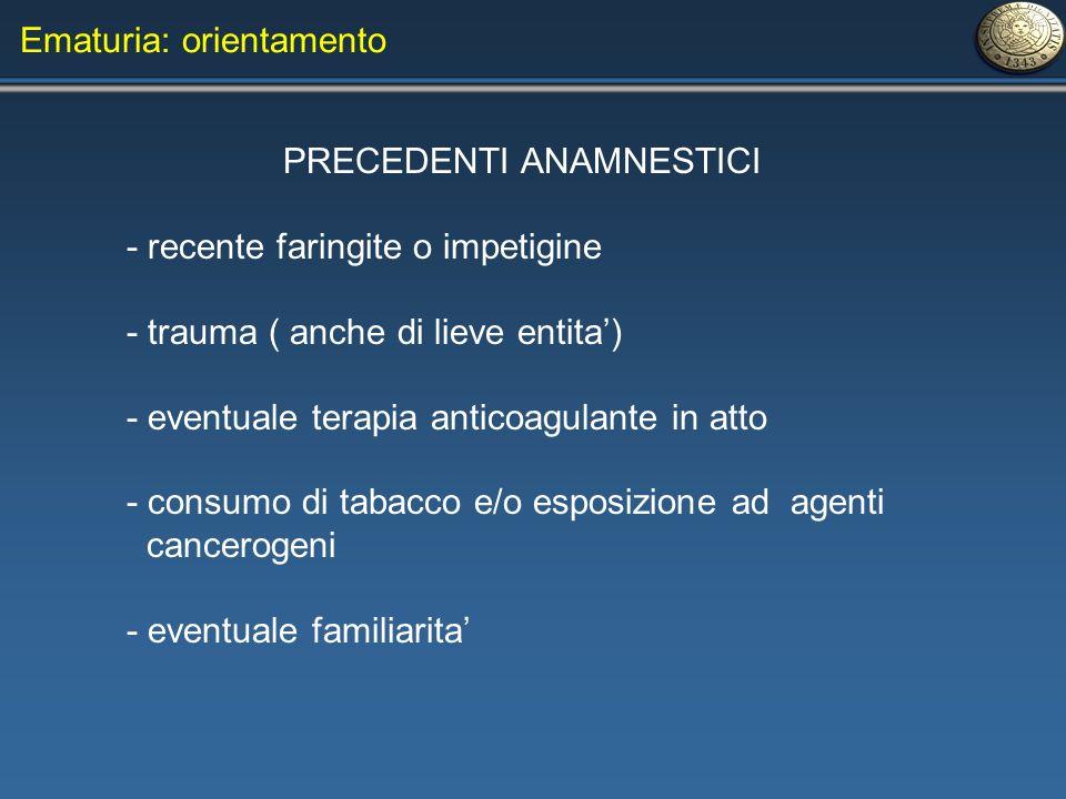 PRECEDENTI ANAMNESTICI - recente faringite o impetigine - trauma ( anche di lieve entita) - eventuale terapia anticoagulante in atto - consumo di taba