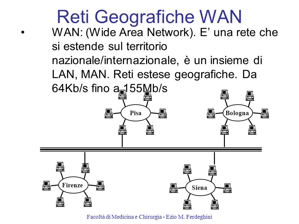 Facoltà di Medicina e Chirurgia - Ezio M.Ferdeghini Reti Geografiche WAN WAN: (Wide Area Network).