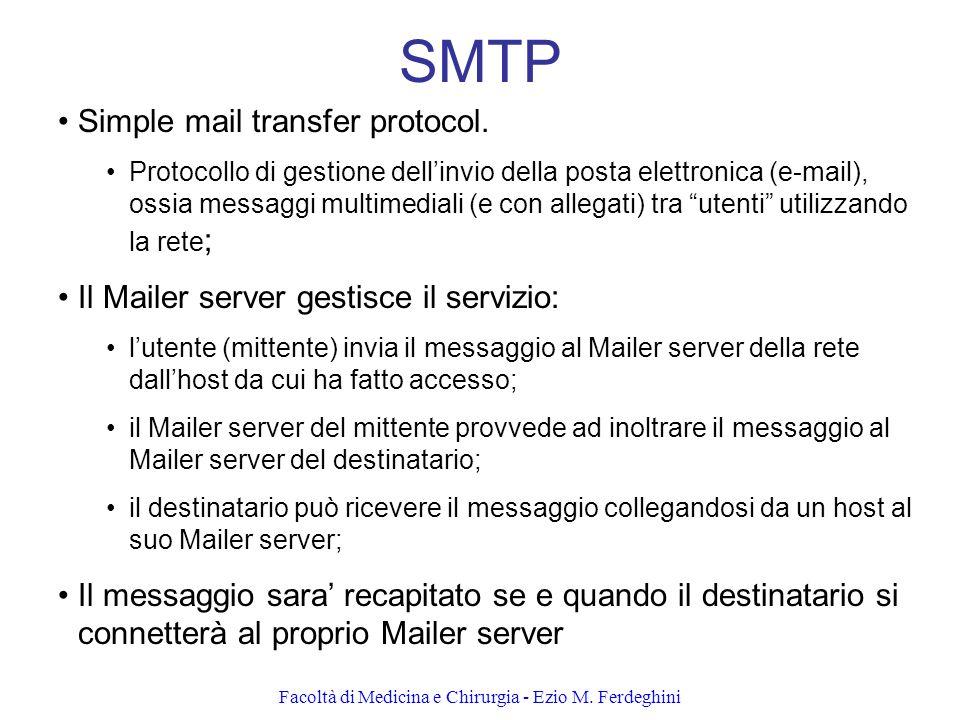 Facoltà di Medicina e Chirurgia - Ezio M.Ferdeghini SMTP Simple mail transfer protocol.
