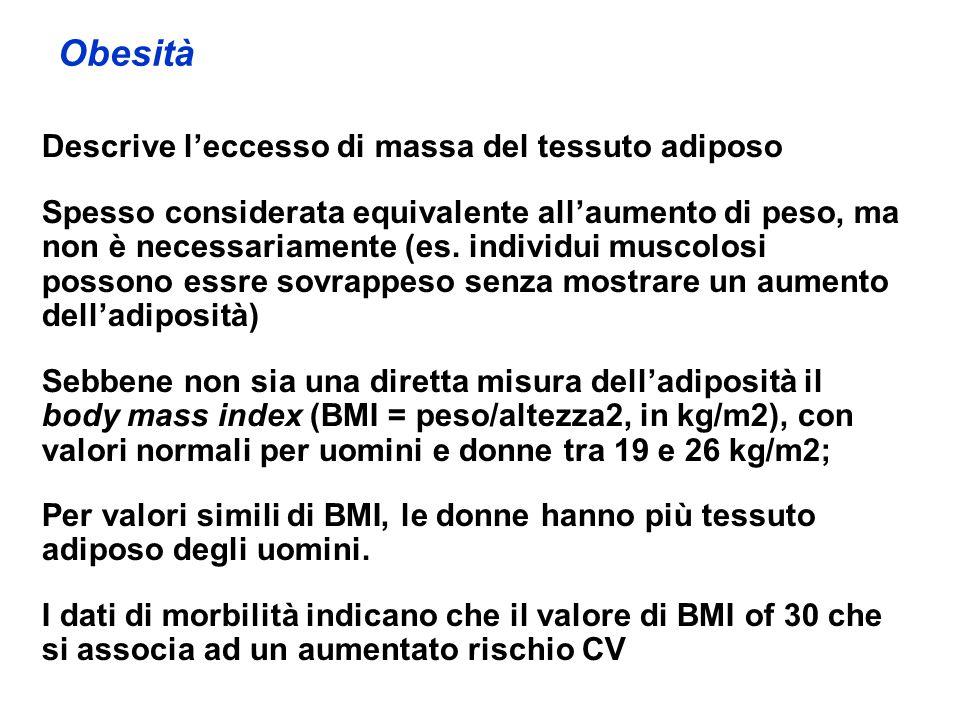 Obesità Descrive leccesso di massa del tessuto adiposo Spesso considerata equivalente allaumento di peso, ma non è necessariamente (es. individui musc