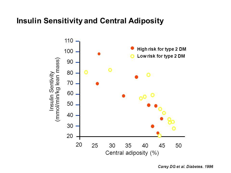 Carey DG et al. Diabetes. 1996 Central adiposity (%) 20 25 30354045 50 Insulin Sentivity (mmol/min/kg lean mass) 110 100 90 80 70 50 40 30 20 High ris
