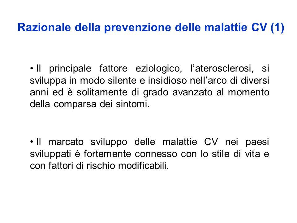 Razionale della prevenzione delle malattie CV (1) Il marcato sviluppo delle malattie CV nei paesi sviluppati è fortemente connesso con lo stile di vit