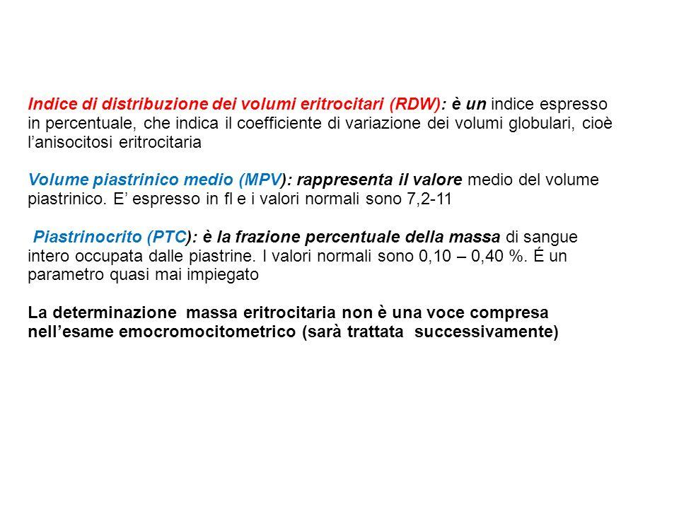 Indice di distribuzione dei volumi eritrocitari (RDW): è un indice espresso in percentuale, che indica il coefficiente di variazione dei volumi globul