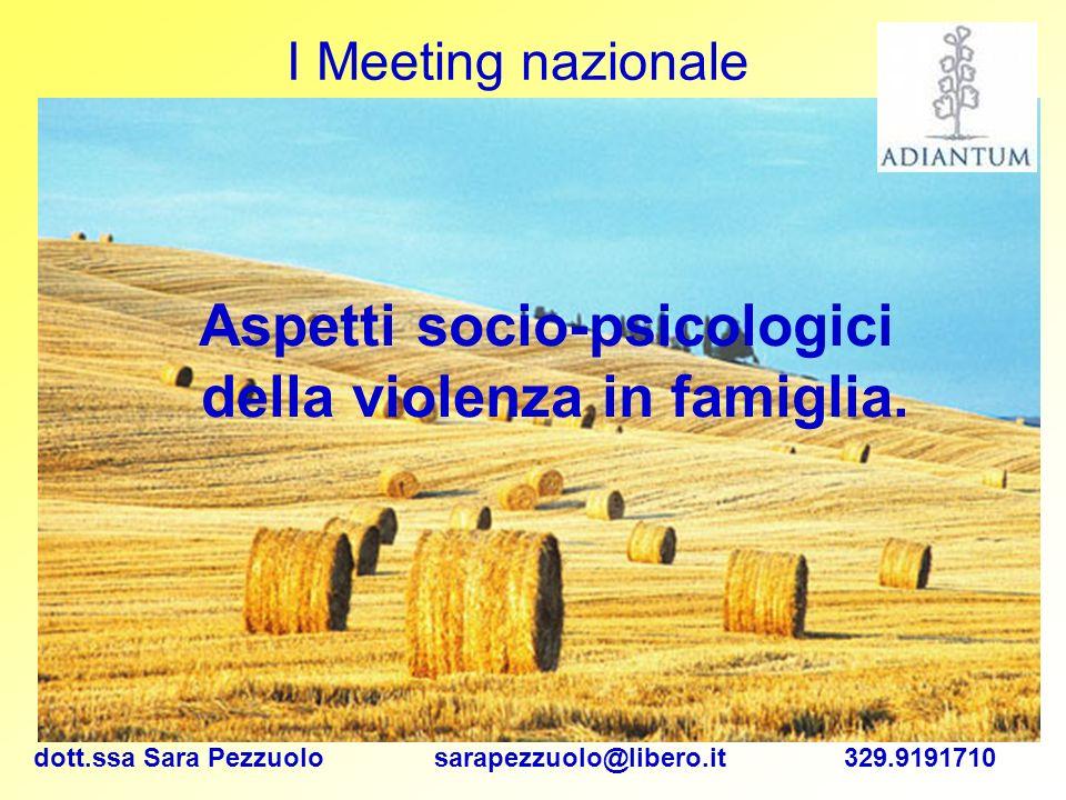 dott.ssa Sara Pezzuolo sarapezzuolo@libero.it 329.9191710 I Meeting nazionale Aspetti socio-psicologici della violenza in famiglia.