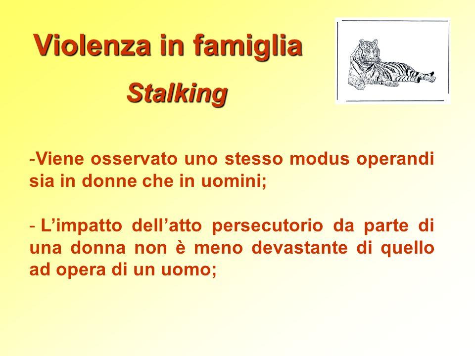 Violenza in famiglia Stalking -Viene osservato uno stesso modus operandi sia in donne che in uomini; - Limpatto dellatto persecutorio da parte di una