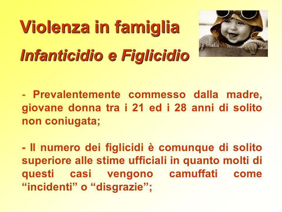 Violenza in famiglia Infanticidio e Figlicidio - Prevalentemente commesso dalla madre, giovane donna tra i 21 ed i 28 anni di solito non coniugata; -