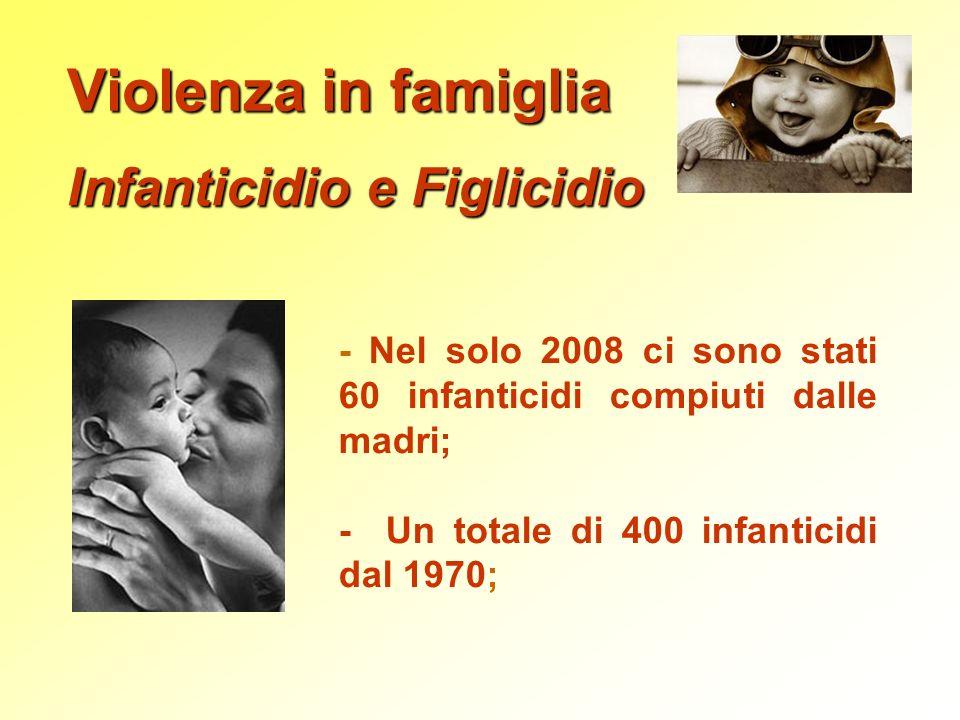 Violenza in famiglia Infanticidio e Figlicidio - Nel solo 2008 ci sono stati 60 infanticidi compiuti dalle madri; - Un totale di 400 infanticidi dal 1