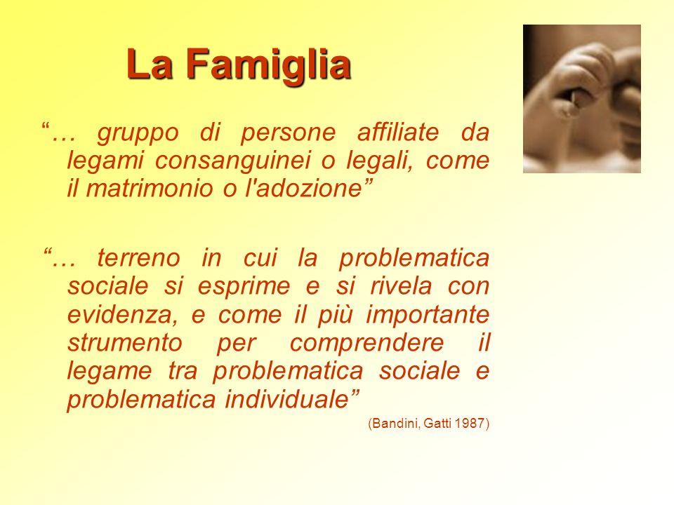 La Famiglia … gruppo di persone affiliate da legami consanguinei o legali, come il matrimonio o l'adozione … terreno in cui la problematica sociale si