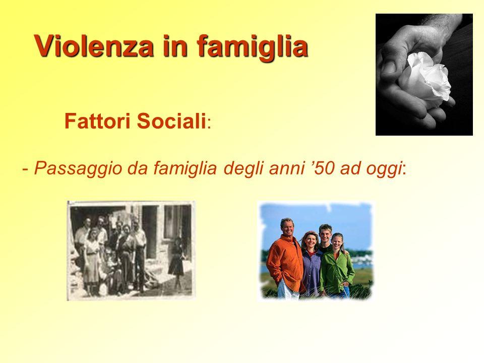 Violenza in famiglia Fattori Sociali : - Passaggio da famiglia degli anni 50 ad oggi: