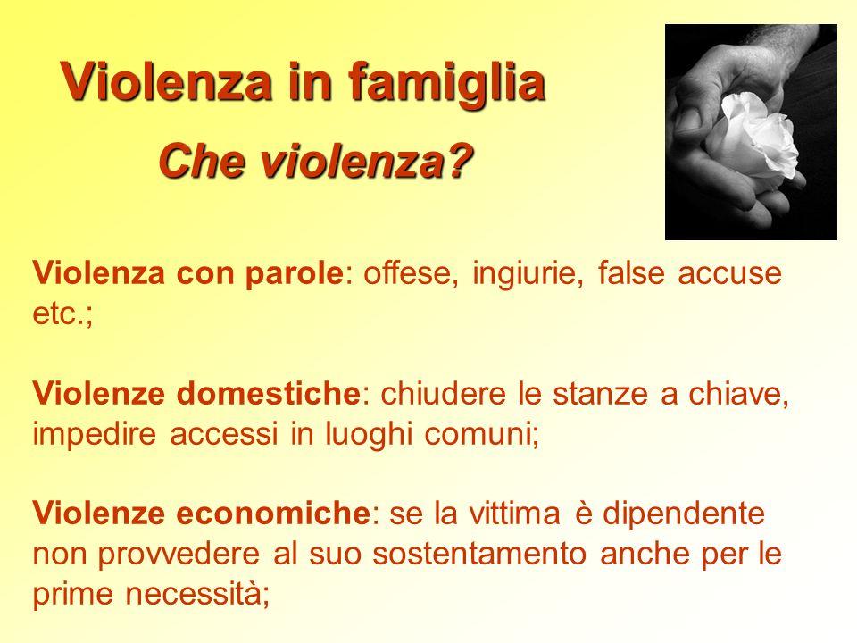 Violenza in famiglia Che violenza? Violenza con parole: offese, ingiurie, false accuse etc.; Violenze domestiche: chiudere le stanze a chiave, impedir