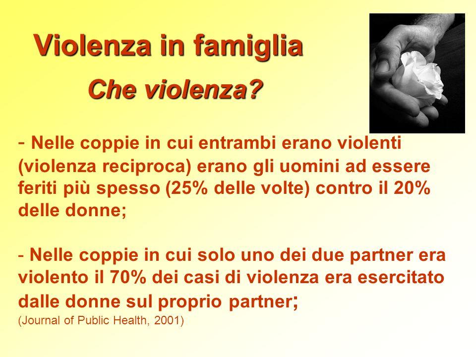 Violenza in famiglia Che violenza? - Nelle coppie in cui entrambi erano violenti (violenza reciproca) erano gli uomini ad essere feriti più spesso (25