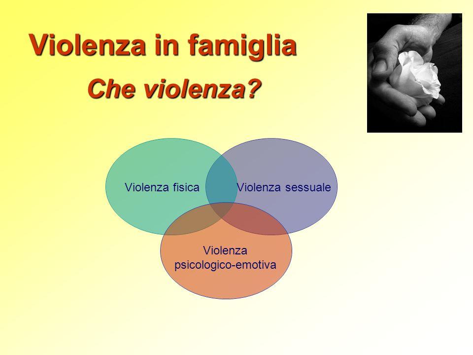 Che violenza? Violenza fisica Violenza sessuale Violenza psicologico-emotiva Violenza in famiglia