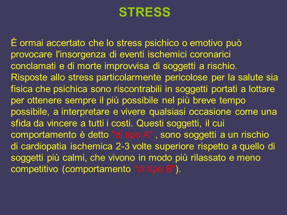 STRESS È ormai accertato che lo stress psichico o emotivo può provocare l'insorgenza di eventi ischemici coronarici conclamati e di morte improvvisa d