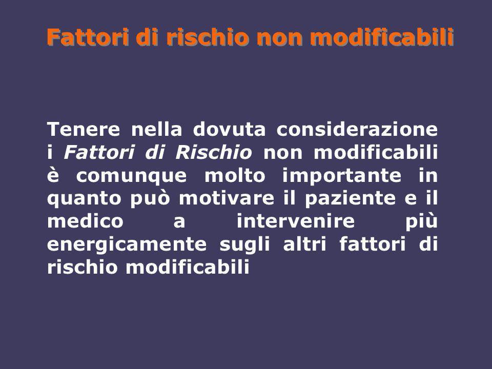 Fattori di rischio non modificabili Tenere nella dovuta considerazione i Fattori di Rischio non modificabili è comunque molto importante in quanto può