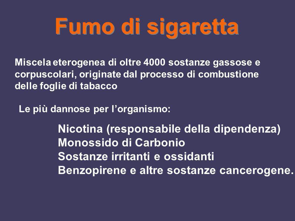 Fumo di sigaretta Miscela eterogenea di oltre 4000 sostanze gassose e corpuscolari, originate dal processo di combustione delle foglie di tabacco Le p