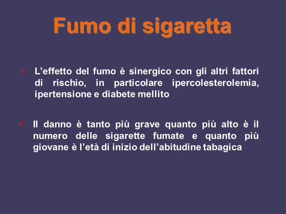 Leffetto del fumo è sinergico con gli altri fattori di rischio, in particolare ipercolesterolemia, ipertensione e diabete mellito Il danno è tanto più