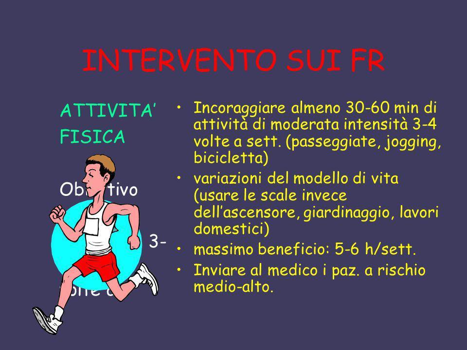 INTERVENTO SUI FR ATTIVITA FISICA Obiettivo minimo 30 marcia 3- 4 volte a Incoraggiare almeno 30-60 min di attività di moderata intensità 3-4 volte a