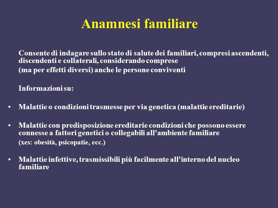 Anamnesi familiare Consente di indagare sullo stato di salute dei familiari, compresi ascendenti, discendenti e collaterali, considerando comprese (ma