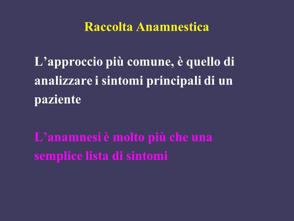 Raccolta Anamnestica Lapproccio più comune, è quello di analizzare i sintomi principali di un paziente Lanamnesi è molto più che una semplice lista di