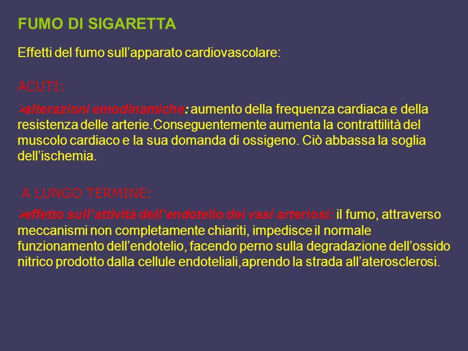 FUMO DI SIGARETTA Effetti del fumo sullapparato cardiovascolare: alterazioni emodinamiche: aumento della frequenza cardiaca e della resistenza delle a