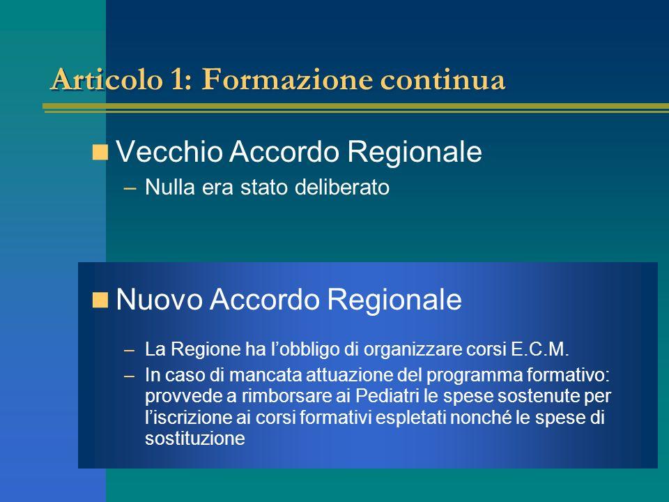 Articolo 1: Formazione continua Vecchio Accordo Regionale –Nulla era stato deliberato Nuovo Accordo Regionale –La Regione ha lobbligo di organizzare c