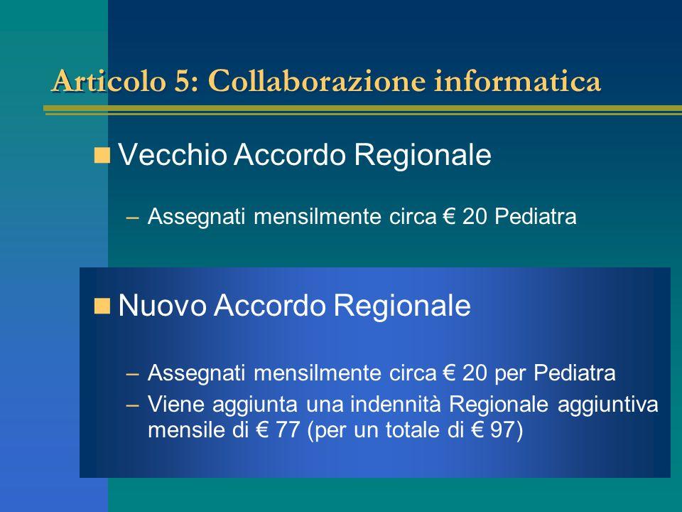 Articolo 5: Collaborazione informatica Vecchio Accordo Regionale –Assegnati mensilmente circa 20 Pediatra Nuovo Accordo Regionale –Assegnati mensilmente circa 20 per Pediatra –Viene aggiunta una indennità Regionale aggiuntiva mensile di 77 (per un totale di 97)