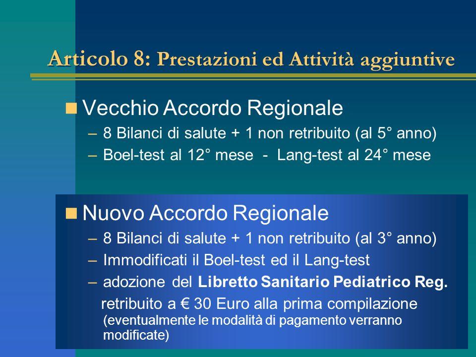 Articolo 8: Prestazioni ed Attività aggiuntive Vecchio Accordo Regionale –8 Bilanci di salute + 1 non retribuito (al 5° anno) –Boel-test al 12° mese -