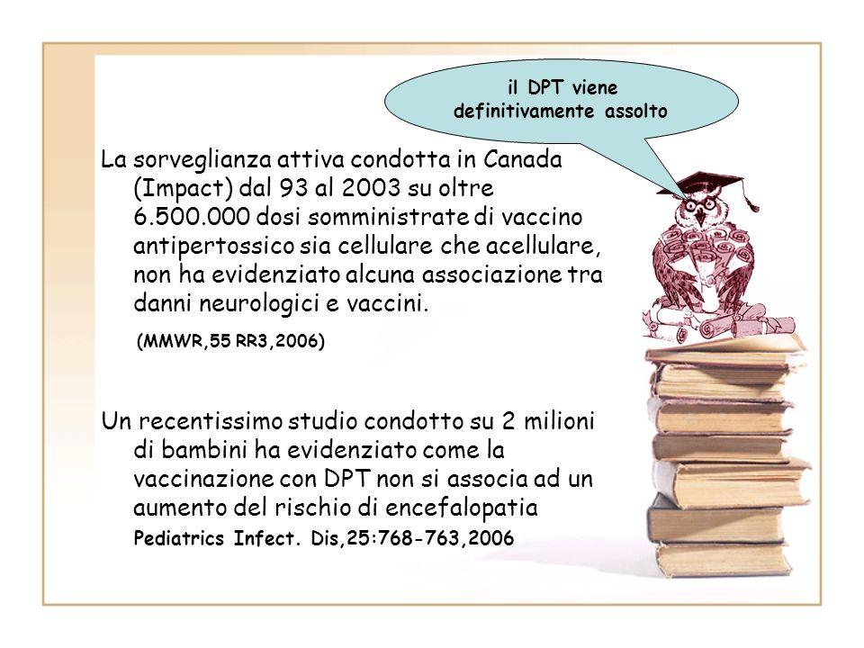 La sorveglianza attiva condotta in Canada (Impact) dal 93 al 2003 su oltre 6.500.000 dosi somministrate di vaccino antipertossico sia cellulare che ac