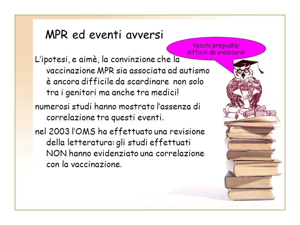 MPR ed eventi avversi Lipotesi, e aimè, la convinzione che la vaccinazione MPR sia associata ad autismo è ancora difficile da scardinare non solo tra