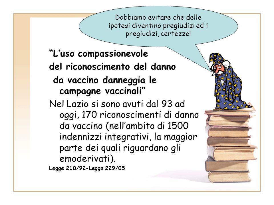 Luso compassionevole del riconoscimento del danno da vaccino danneggia le campagne vaccinali Nel Lazio si sono avuti dal 93 ad oggi, 170 riconosciment