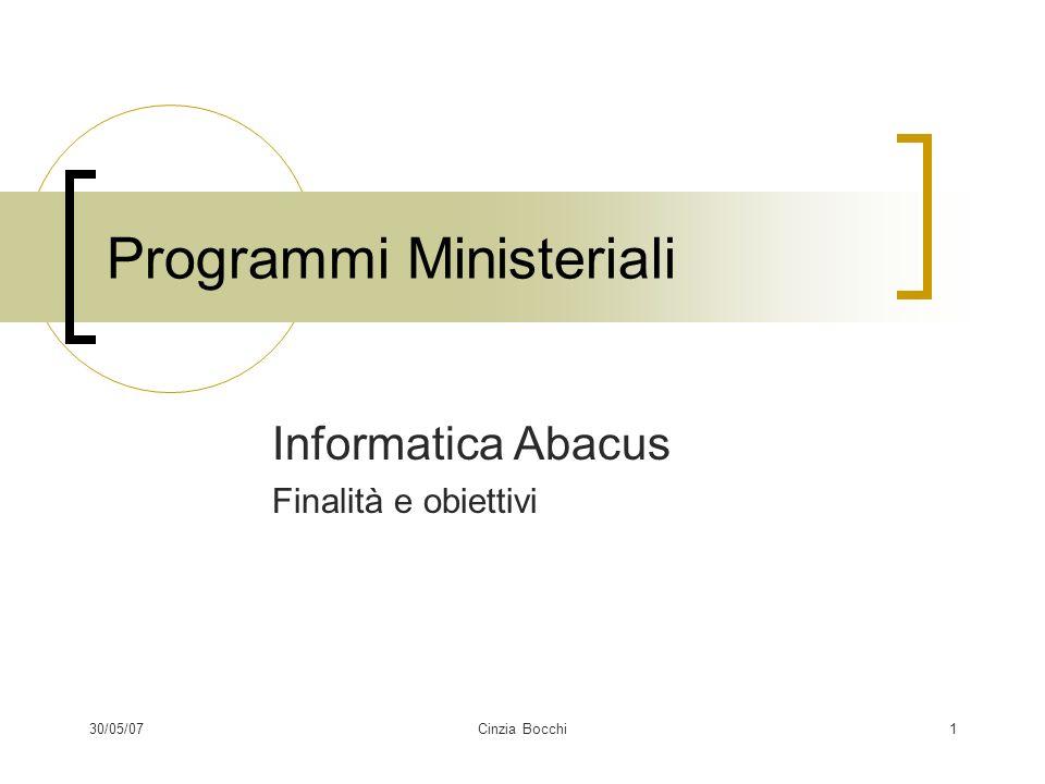 30/05/07Cinzia Bocchi1 Programmi Ministeriali Informatica Abacus Finalità e obiettivi
