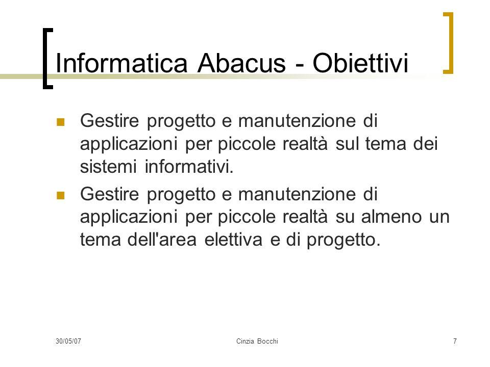 30/05/07Cinzia Bocchi7 Informatica Abacus - Obiettivi Gestire progetto e manutenzione di applicazioni per piccole realtà sul tema dei sistemi informativi.